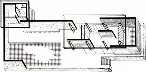 Павильон Германии на Международной выставке в Барселоне, 1929 г., архит. Л. Мис ван дер Роэ. Аксонометрия