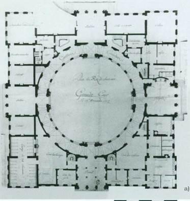 Архитектор Р.Де Котт. План первого этажа замка Поппельсдорф. Второй проектный вариант 1716 г.