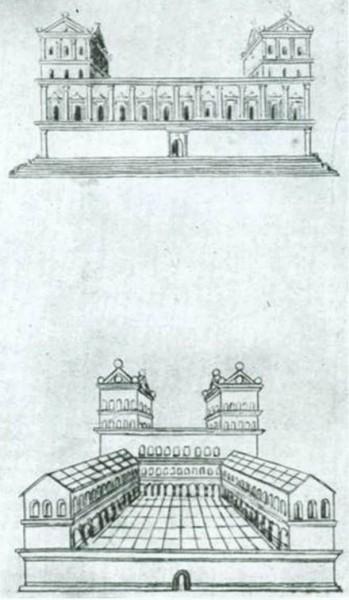 г. Сфорцинда - типовые дома арх. Филарете (рисунок Леонардо да Винчи)