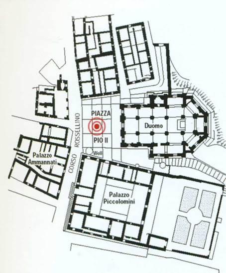 город Пьенца 1459 г. Арх Бернардо Гамбарелли (Росселино), план