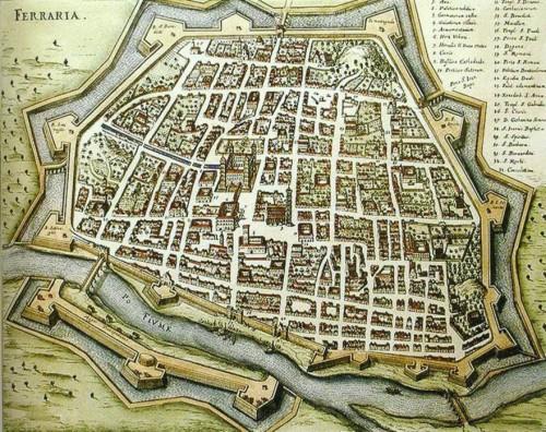 Идеальный город Ферарра, план 1600 г. Арх. Бьяджо Россети