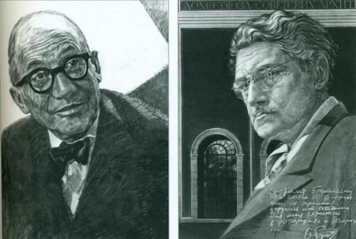 Портреты Ле Корбюзье и А. Бурова (бумага, уголь, 90x80)