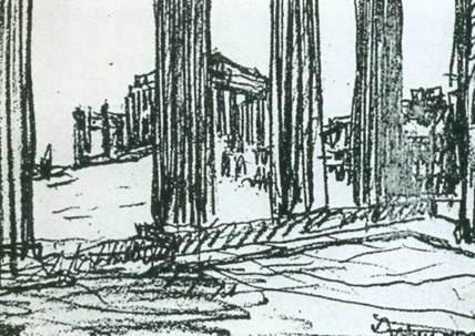 «Парфенон воспринимается потому, что сбит с оси» надпись под рисунком Ле Корбюзье