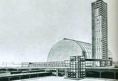 А.Буров. Дипломный проект Центрального вокзала в Москве. 1925 г.