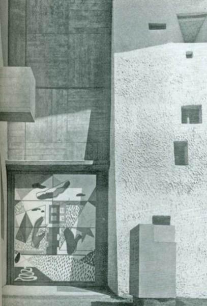 Ле Корбюзье. Портал капеллы в Роншане. 1954 г.
