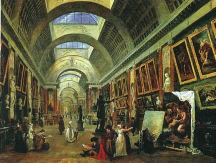 Характером освещения, масштабом внутреннего пространства галерея Лувра провоцировала появление картин, изображающих ее «будущие руины»