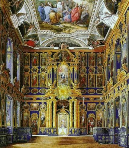 Э. П. Гау. Церковь Воскресения Христова Большого Екатерининского дворца в Царском Селе. Акварель. 1860-е