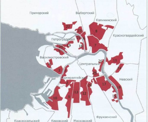 Петербург. Карта промзон, подлежащих редевелопменту территорий